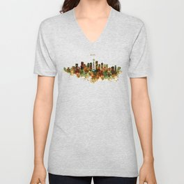 Seattle Watercolor Skyline Poster Unisex V-Neck