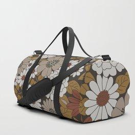 Brown, Orange, and Ivory Retro Flower Pattern Duffle Bag