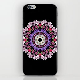 Clematis carousel on black (Number 5) iPhone Skin