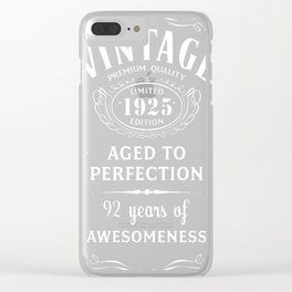 Vintage Limited 1925 Edition - 92nd Birthday Gift Clear iPhone Case