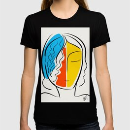 Graphic Minimal Portrait Design Orange Yellow and Blue T-shirt