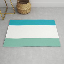 Lucite green and scuba blue stripes Rug
