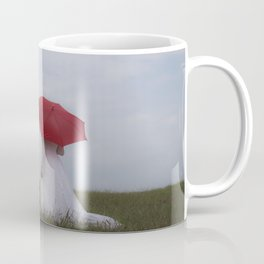 Bride with red umbrella Coffee Mug