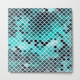 Quatrefoil aqua Metal Print