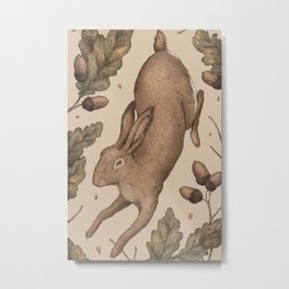 The Hare and Oak Metal Print