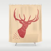 elk Shower Curtains featuring Taxidermied Elk by The Provincial Trading Co.
