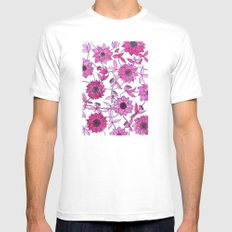 small pink flowers White MEDIUM Mens Fitted Tee