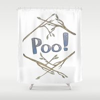 musa Shower Curtains featuring Lovely Rude Words: Poo by Atelier Amy