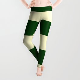 Dark Emerald Green and Cream Large Stripes Leggings