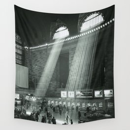 Grand Central Station, Rays of Sunlight spilling in terminal, New York City black and white photograph Wall Tapestry