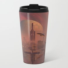 Futuristic City with Space Ships Metal Travel Mug