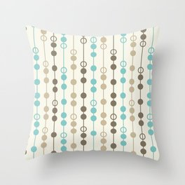 Retro Aqua and Brown Circled Stripes Throw Pillow