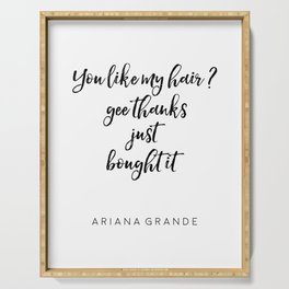 Ariana G. Poster, 7 Rings, Ariana Quote, Hair Quote, Gift For Her, Teen Room Decor Serving Tray