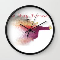 hiphop Wall Clocks featuring Famous humourous quotes series: The way forward. Exploding hiphop dancer  by PhotoStock-Israel