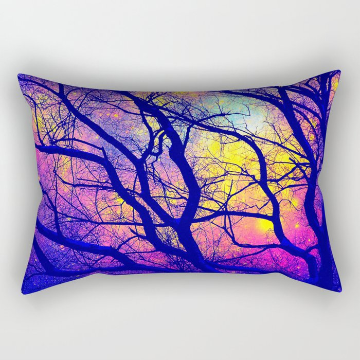 Black Trees Deep Bright & Colorful Space Rectangular Pillow