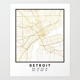 DETROIT MICHIGAN CITY STREET MAP ART Art Print