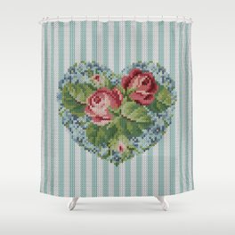 Knitted vintage roses heart in tapestry syle Shower Curtain