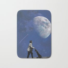 Shopping to the Moon and back Bath Mat