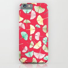 Gingko Leaves on Red Slim Case iPhone 6s