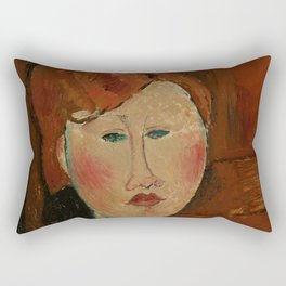 "Amedeo Modigliani ""Femme aux cheveux rouge (Woman with Red Hair)"" Rectangular Pillow"