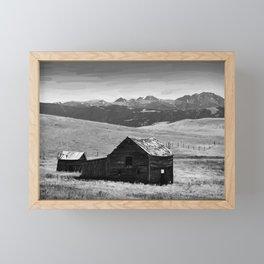 old wooden barn landscape digital oil painting akvop bw Framed Mini Art Print