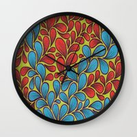 good vibes Wall Clocks featuring Good Vibes by Sarah J Bierman