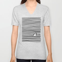 Minimal Line Drawing Simple Unique Shark Fin Gift Unisex V-Neck
