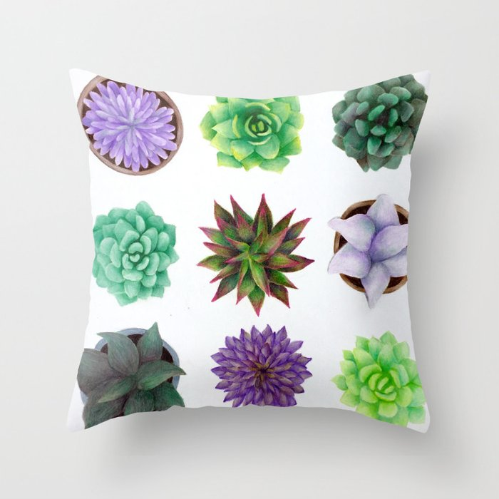 Succulent Friends Throw Pillow