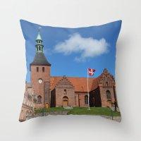 denmark Throw Pillows featuring Vor Frue Kirke, Svendborg, Denmark by Anders Riise Koch