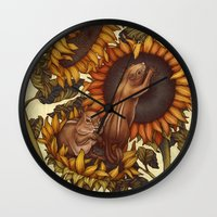 autumn Wall Clocks featuring Autumn by Kate O'Hara Illustration