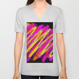 psychedelic geometric polygon abstract in pink yellow orange black Unisex V-Neck