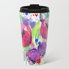 Be Happy, Be Bright, Be You - Pink flowers Travel Mug