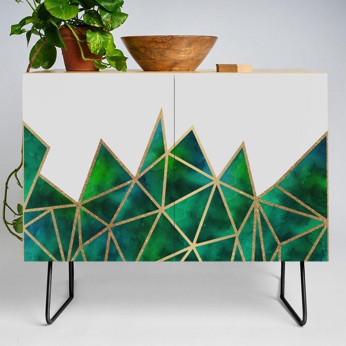 Emerald & Gold Geometric Credenza