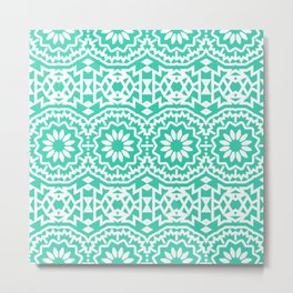 Vintage style bohemian with abstract tribal flowers Metal Print