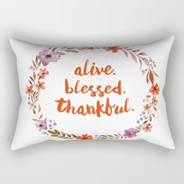 Alive. Blessed. Thankful. Watercolor Wreath. Thanksgiving Art Rectangular Pillow