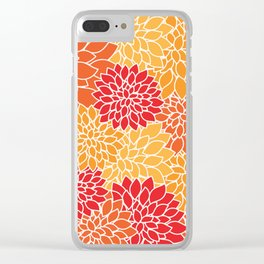 Shades of Orange Flower Pattern - Floral Art Clear iPhone Case