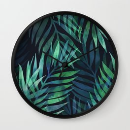 Dark green palms leaves pattern Wall Clock