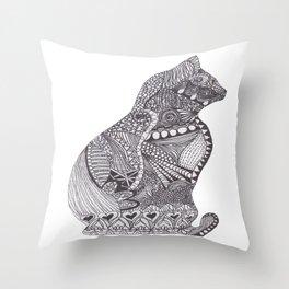 Zen Kitty Throw Pillow