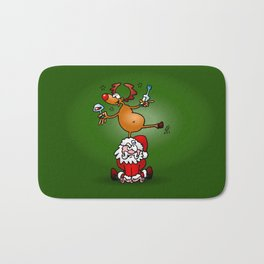 Reindeer is having a drink on Santa Claus Bath Mat