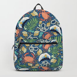 Cap and crab with seashells on water drops Backpack