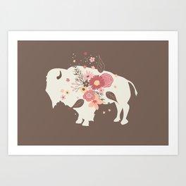 Floral Buffalo Art Print