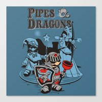 dungeons and dragons Canvas Prints featuring PIPES & DRAGONS by Adams Pinto