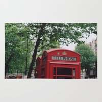 telephone Area & Throw Rugs featuring telephone boxes by Millie Clinton
