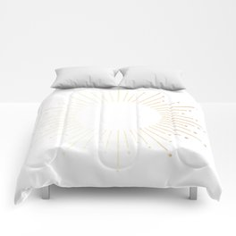 Sunburst Gold Copper Bronze on White Comforters