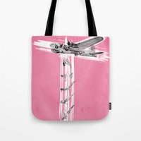 bombs away Tote Bags featuring Bombs Away! by victor calahan