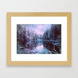 Icy Lavender Blue Winter Wonderland Forest Framed Art Print