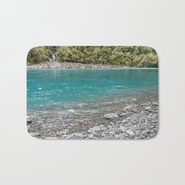 Turquoise water and waterfalls of Roaring Billy Falls, New Zealand Bath Mat