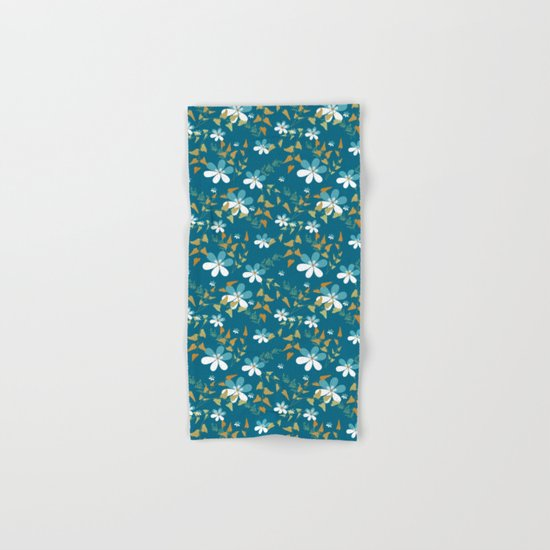 White flowers on a blue background . Hand & Bath Towel
