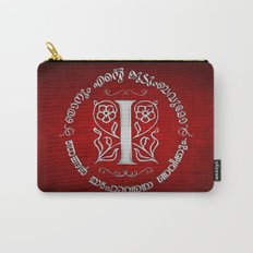 Joshua 24:15 - (Silver on Red) Monogram I Carry-All Pouch
