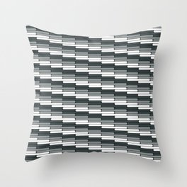Staggered Oblong Rounded Lines Pattern PPG Night Watch Pewter Green Throw Pillow